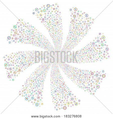 Sharp Rounded Arrow fireworks swirl rotation. Vector illustration style is flat bright multicolored iconic symbols on a white background. Object spiral created from random pictographs.