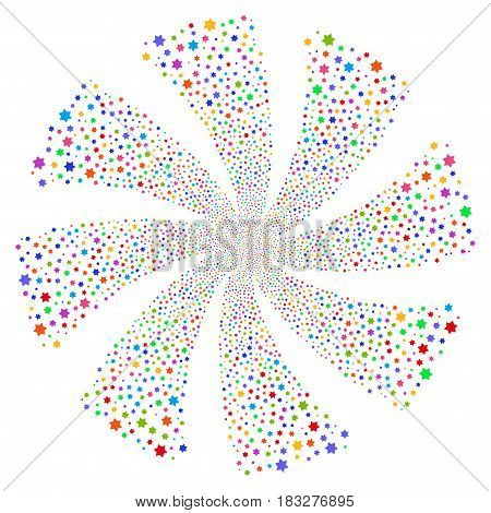 Six Pointed Star fireworks swirl rotation. Vector illustration style is flat bright multicolored iconic symbols on a white background. Object spiral created from random icons.