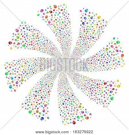 Skull fireworks swirl rotation. Vector illustration style is flat bright multicolored iconic symbols on a white background. Object whirlpool created from random symbols.