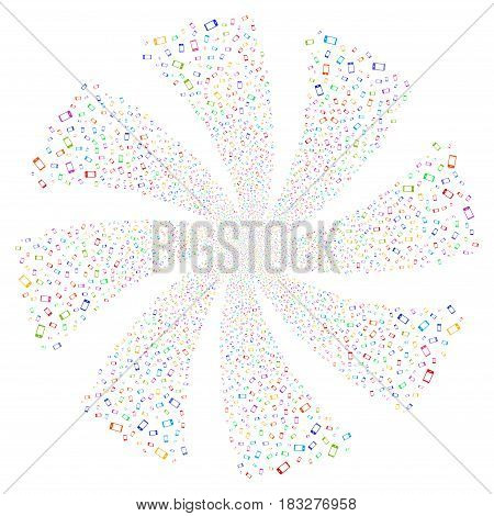 Smartphone fireworks swirl rotation. Vector illustration style is flat bright multicolored iconic symbols on a white background. Object whirl created from random pictographs.