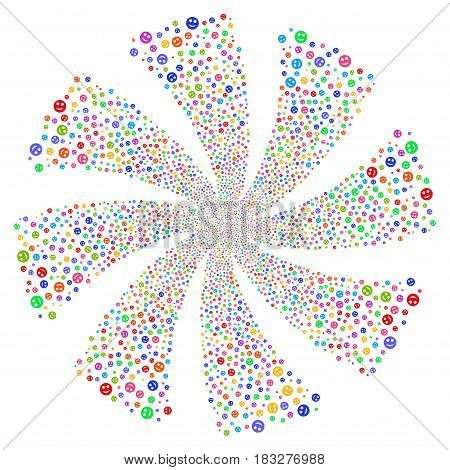 Smile fireworks swirl rotation. Vector illustration style is flat bright multicolored iconic symbols on a white background. Object whirl created from random symbols.