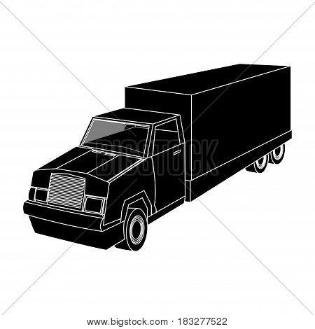 big cargo truck icon image vector illustration design  inverted black and white