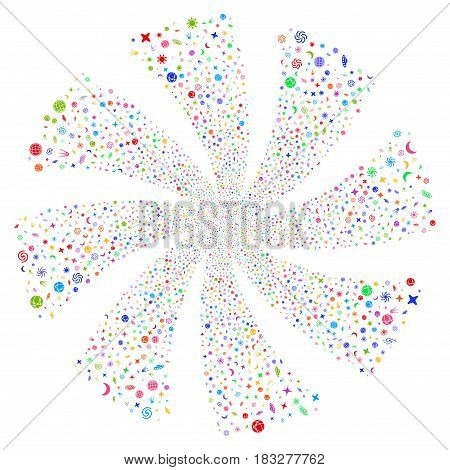 Space Symbols fireworks swirl rotation. Vector illustration style is flat bright multicolored iconic symbols on a white background. Object flower made from random symbols.