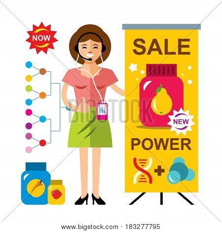 The girl near a dealer advertising stand. Isolated on a white background