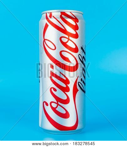 Bangkok Thailand - April 22 2017: A thin can of coke light on blue background.