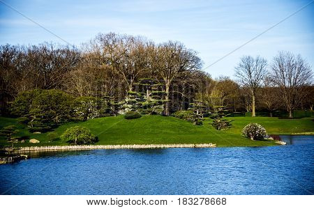 park, park concept, blue lake with green trees and blue sky at the park, relaxing park, park with forest and woods, water park, green park,