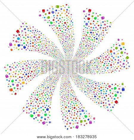 Tooth fireworks swirl rotation. Vector illustration style is flat bright multicolored iconic symbols on a white background. Object whirl done from random pictographs.