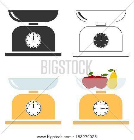 Kitchen scales. Flat design vector illustration vector.