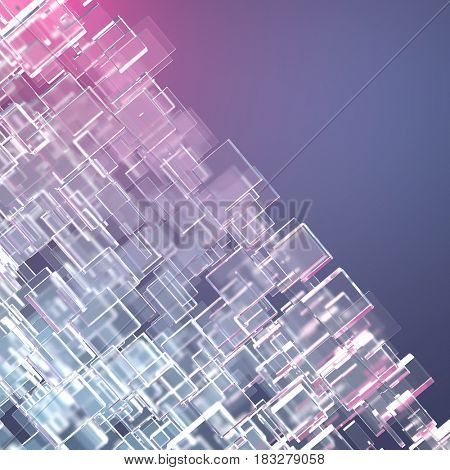 Crystalline cubes, science and technology abstract background, 3d illustration