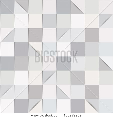 Seamless background pattern, consisting of folded paper squares and triangles, in shades of grey.