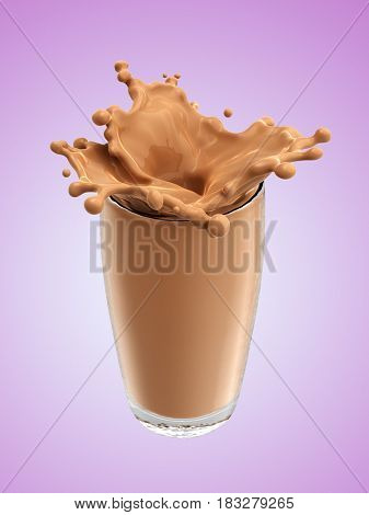 Splash of chocolate milk from the glass .Pink background. 3d rendering