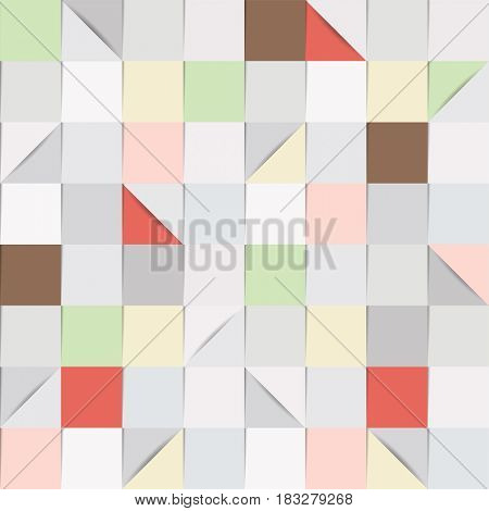 Seamless background pattern, consisting of folded paper squares and triangles, in shades of grey and pastel colours.