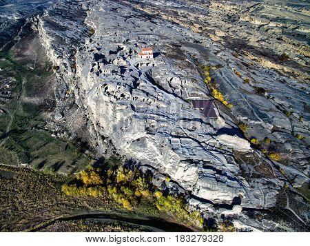 amazing aerial view of Uplistsikhe, Georgia