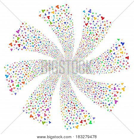 User fireworks swirl rotation. Vector illustration style is flat bright multicolored iconic symbols on a white background. Object spiral constructed from random symbols.