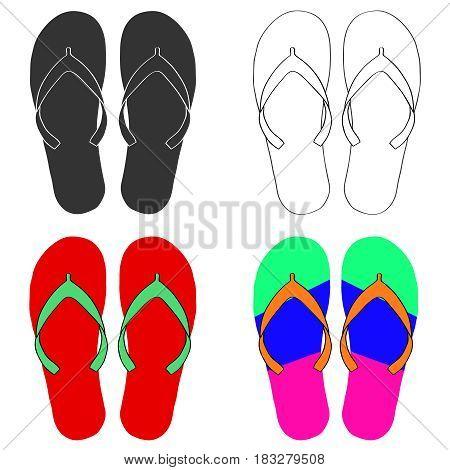 Flip-flops set. Flat design vector illustration vector.