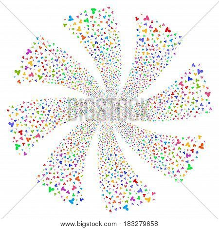 User fireworks swirl rotation. Vector illustration style is flat bright multicolored iconic symbols on a white background. Object whirl constructed from random pictographs.