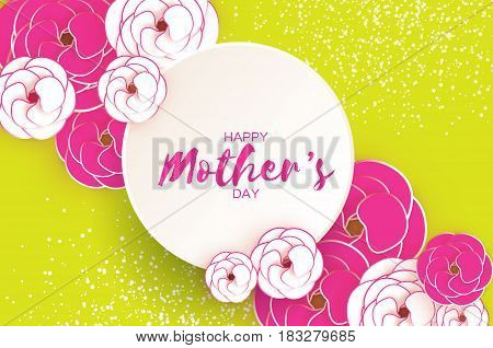 Happy Mother's Day. Pink Floral Greeting card. Paper cut Flower. Green holiday background. Circle Frame. Space for text. Women's Day. Origami Beautiful Bouquet. Vector illustration