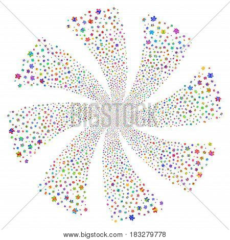 Users fireworks swirl rotation. Vector illustration style is flat bright multicolored iconic symbols on a white background. Object twirl constructed from random design elements.