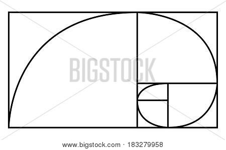 Golden Ratio icon or logo in modern line style. Vector illustration isolated on a white background. Curve with golden balance