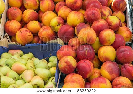 Nectarines and pears for sale at a market