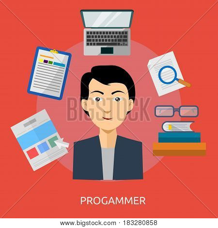 Programmer Conceptual Design | Great flat illustration concept icon and use for human, profession, athlete, work, event and much more.