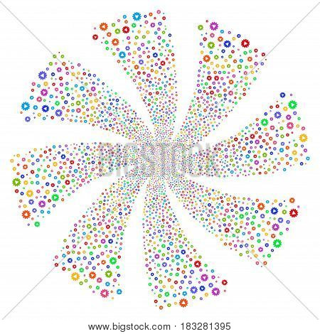 Automation fireworks swirl rotation. Vector illustration style is flat bright multicolored iconic symbols on a white background. Object whirlpool combined from random design elements.