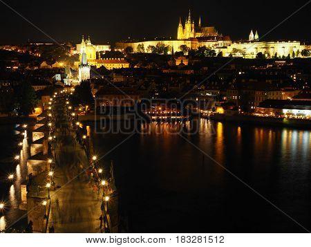 Prague Castle And Charles Bridge At Night, Czech Republic