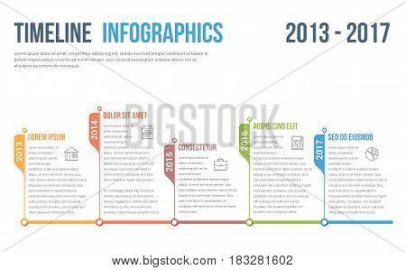 Horizontal timeline infographics template, vector eps10 illustration