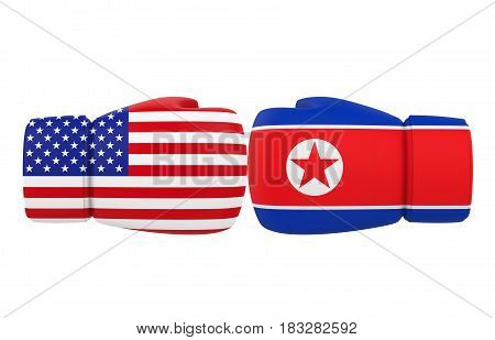 Boxing Gloves with USA and North Korea flags isolated on white background. 3D render