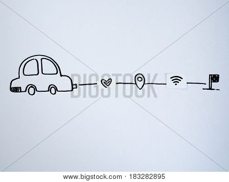 A drawing car and small paper simulated as a SIM card. Dollar wifi and heart symbol on paper sim cards