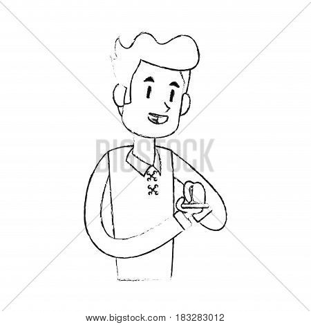 man texting on phone icon image vector illustration design