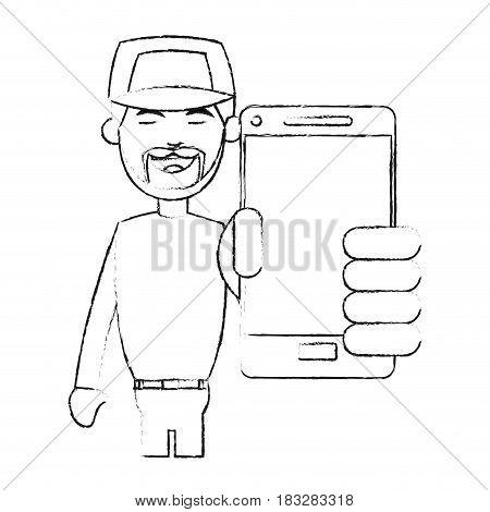 man with baseball hat  using phone icon image vector illustration design