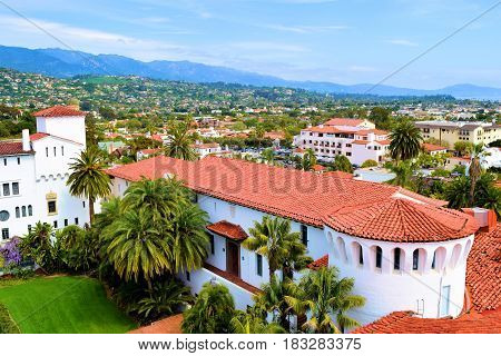 April 9, 2017 in Santa Barbara, CA:  Spanish Colonial style Courthouse building including a tile roof and completed in 1929 taken in Santa Barbara, CA where people can attend court hearings and tour a historic building with Spanish architectural design