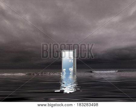 Opened door to another dimension on a seashore. 3D rendering
