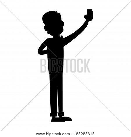 man using phone icon image vector illustration design