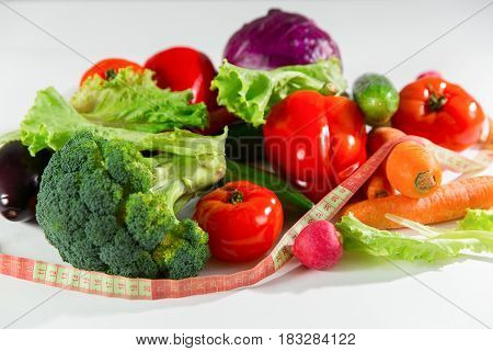 Vegetables And Measuring Tape, Still Life Isolated On White Background