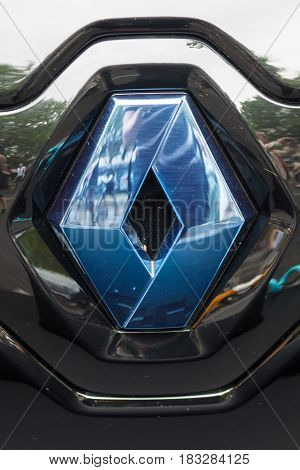 BERLIN - JUNE 14 2015: Emblem of a two-passenger electric vehicle Renault Twizy Z.E. The Classic Days on Kurfuerstendamm.
