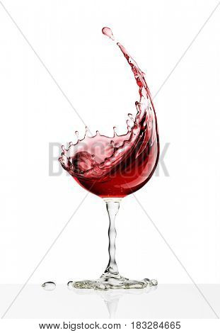 red wine glass on a isolated white background. 3d rendering
