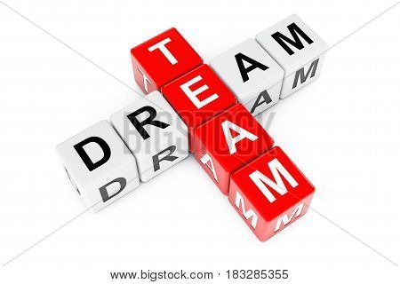 Dream Team Concept. Sign as Crossword Blocks on a white background. 3d Rendering.