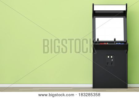 Gaming Arcade Machine with Blank Screen for Your Design in front of olive wall. 3d Rendering.