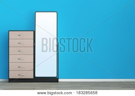 Modern Wooden Dresser with Mirror in front of blue wall. 3d Rendering.