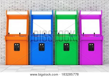 Row of Multicolour Gaming Arcade Machines with Blank Screen for Your Design in front of brick wall. 3d Rendering.