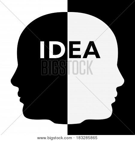 Black and White Human Head Shape with Idea Sign extreme closeup. 3d Rendering.