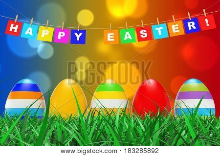 Easter Eggs in Grass under Happy Easter Sign hanging on Rope on a color background. 3d Rendering.