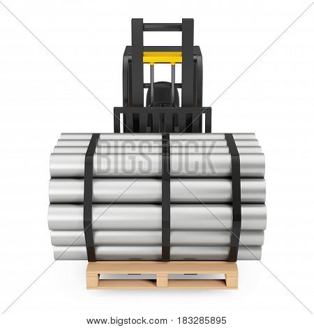 Forklift Truck Carry Stack of Metal Pipes on a white background. 3d Rendering.