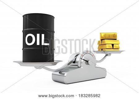 Black Oil Barrel with Golden Bars Balancing on a Simple Weighting Scale on a white background. 3d Rendering.