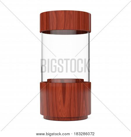 Wooden Empty Glass Shop Showcase Cylinder on a white background. 3d Rendering.