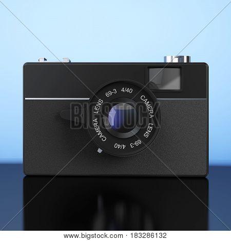 Old Vintage Photo Camera on a blue background. 3d Rendering.