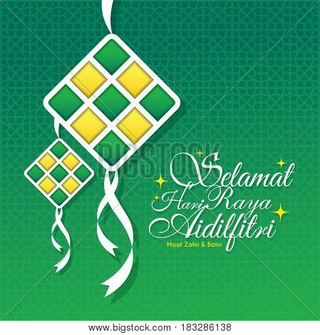 Hari Raya Aidilfitri greeting card. Vector ketupat with Islamic pattern as background. (caption: Fasting Day of Celebration, I seek forgiveness (from you) physically and spiritually)