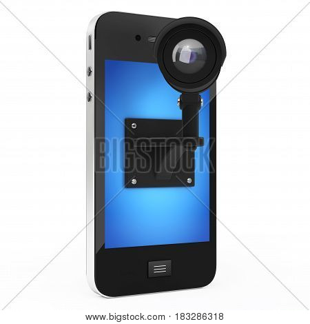 Mobile Phone with Video Security Surveillance Camera on a white background. 3d Rendering.
